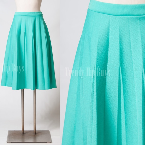 vintage 70s skirt mint green skirt pleated skirt midi