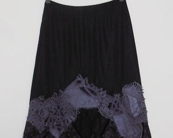 Gothic Tatterpunk Mori Witch Purple & Black Handcrafted Patchwork Vintage Slip ~ Medium  AU12 US 8 ~ Festival Grunge Crochet Lace Velvet