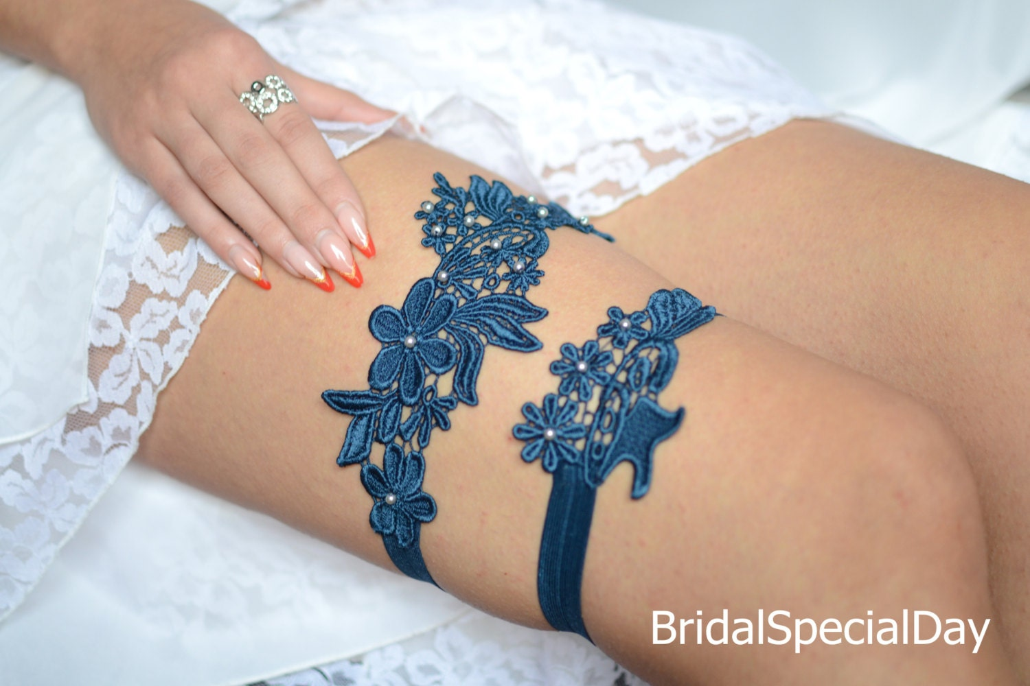 Wedding Garter Set Unique Bridal Garter Teal Blue Garter