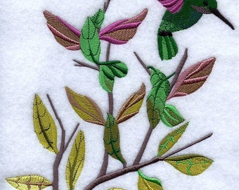 Hummingbird Dance Embroidered on Made-to-Order Pillow Cover