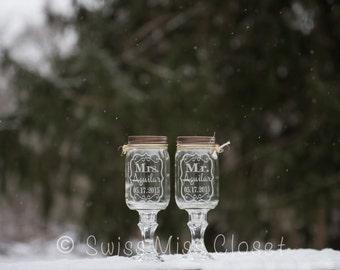 Custom Redneck Wine Glasses Etched Set of 2 16oz Mason Jar Wine Glasses