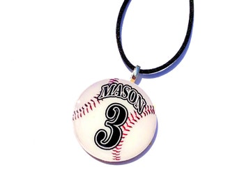 Gifts for Grandma Personalized, Baseball Necklace, Name Necklace, Number Necklace