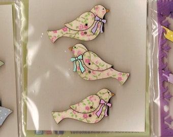 Hand Painted WOODEN BIRD BUTTONS - 3 Different Design Sets - will make any garment look special! Can also be made into badges