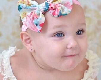 Chiffon hair bow Floral print Headband Shabby Chic vintage knot  bow baby headband