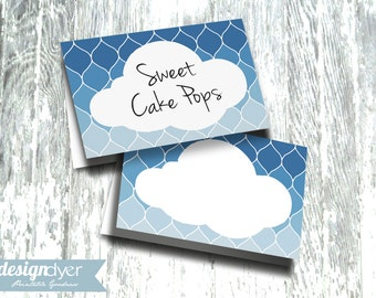 Cloud Printable Tent Card Blue Ombre - INSTANT DOWNLOAD