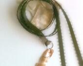Handmade Paua Shell Wrap Necklace, Brown Wrap Necklace, Paua Shell Necklace