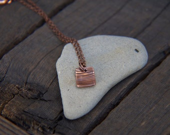 Beach Jewelry, Recycled copper Arrow necklace with puka shell option