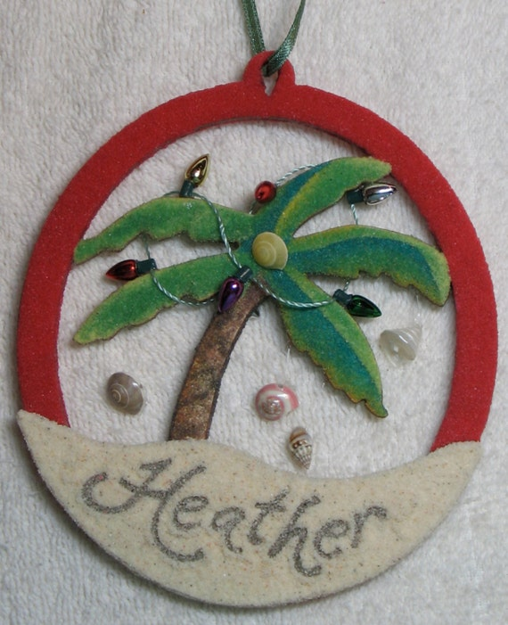 Personalized palm tree christmas ornament for Custom christmas tree ornaments