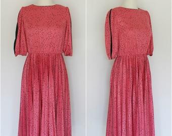 1980's Vintage Secretary Pleated Confetti Dress • Large