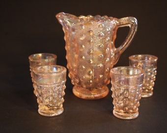 Pink Carnival Glass Miniature Pitcher and Tumblers Set