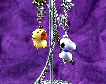 Porcelain Puppy Dog / Snoopy Bead Bookmark Tibetan Silver or Bronze Paw Charm