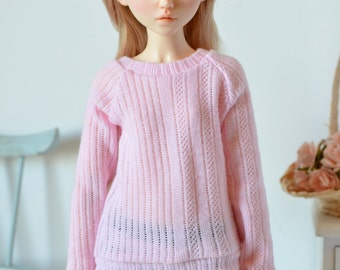 Pink sweater for Minifee, Unoa, and similar sized slim MSD BJD dolls