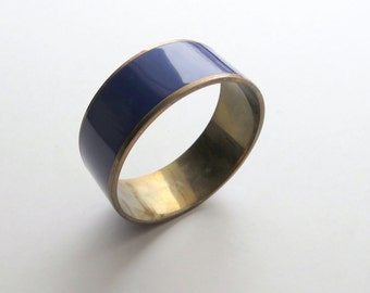80's Navy Blue Brass Bangle Bracelet Retro Jewelry Two Tone Color Block