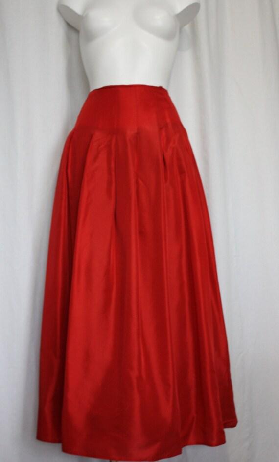 Red Taffeta Skirt Mature Milf