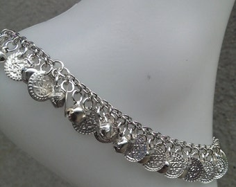 "Silver Coin and Bell Anklet for Women ""Ringing Anklet"" - Can also be used as a bracelet"