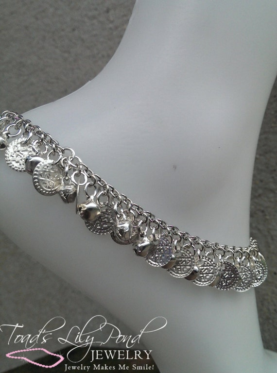 """Silver Coin and Bell Anklet for Women """"Ringing Anklet"""" - Can also be used as a bracelet"""