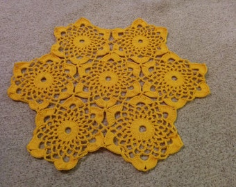 Lace round oval yellow table doily napkin cover placemat centerpiece