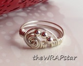 Silver Wire Wrapped Ring with Sterling Silver Beads Non Tarnish Silver Wire Ring Wire Wrapped Jewelry ITEM0360