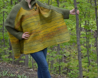 Boho style fashion felted reversible poncho from natural silk and A-Grade wool (with hand knitted fragments and embroidery) OOAK  Plus Size