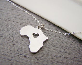 Dainty Africa Heart Charm Sterling Silver Necklace / Gift for Her