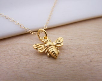 Gold Bumble Bee Necklace - Bumblebee Charm Pendant 14k Gold Filled Necklace / Gift for Her / Simple Jewelry