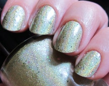 I Can Kill You With My Brain Nail Polish - holographic green with holo glitter
