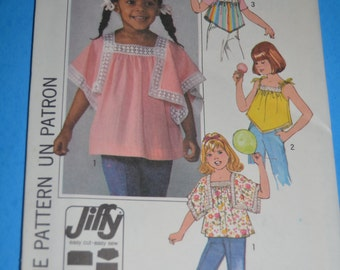 Vintage 70s Simplicity 8091 Girls Jiffy Pullover Tops Sewing Pattern - UNCUT - Size Medium (4-5) or Sizes Large (6-6X)