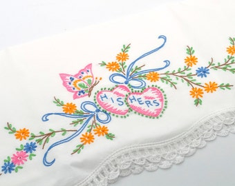 Vintage Embroidered Pillowcase, Single, His and Hers Pillowcase, Colorful Pillowcases, Vintage Bedding, Butterfly and Flowers