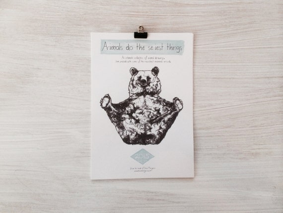 SALE // 2015 // Hand Drawn Woodland Animal Wall Calendar // Animals do the sexiest things // Becci Maryanne Illustration