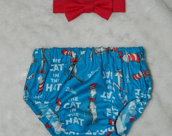 Dr. Seuss' Cat in the Hat themed Bow-Tie and Bloomer Set - First Birthday Cake Smash Set