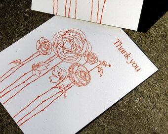 Thank you card set of 5, recycled cardstock thank you notes, simple thank you notes, rustic thank you cards, wedding thank you cards, thanks