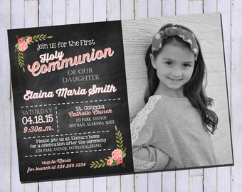 First Holy Communion Girl Invitation | Floral Pink Baptism Invitation | Holy Communion Invitation | Printable Digital Invitation