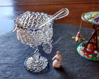 DISTRESSED miniature spun glass punch bowl set ladle & 4 cups mini doll house party vintage retro Mother's day collector birthday gift