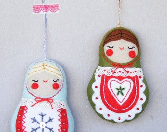 PDF pattern - Nesting dolls - Felt Christmas ornament, hand sewing DIY project, embroidered festive decoration