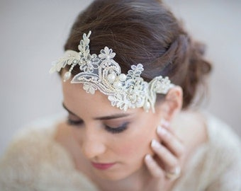 Bridal lace headpiece,  wedding hair accessories, Lace Delight wedding lace pearl headpiece,  gold metallic lace Style 262