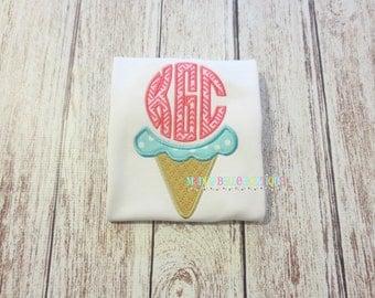 Fun Ice Cream Monogram Appliqued Shirt - Embroidered, Personalized, Monogram, Ice Cream, Monogram Shirt, Ice Cream Monogram, Summer