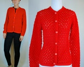 Vintage 60s Popcorn Knit Red Crochet Cozy Sweater. Boho Mod Retro Cardigan / Mini Button Up Dress Jumper.  Holiday Outerwear. Extra Small