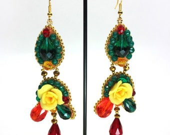 long beaded earrings with roses, fashion earrings, colorful earrings,  earrings chandeliers