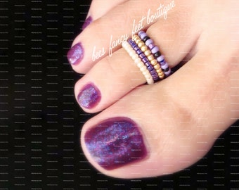 Stacking Toe Rings - Purple - Gold - Cream - Stretch Bead Toe Rings