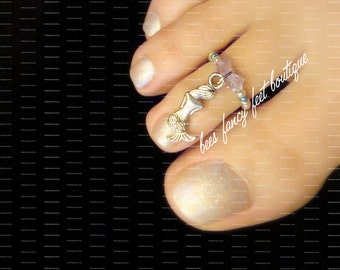 SALE - Toe Ring - Silver - Mermaid Charm - Purple Crystals - Stretch Bead Toe Ring