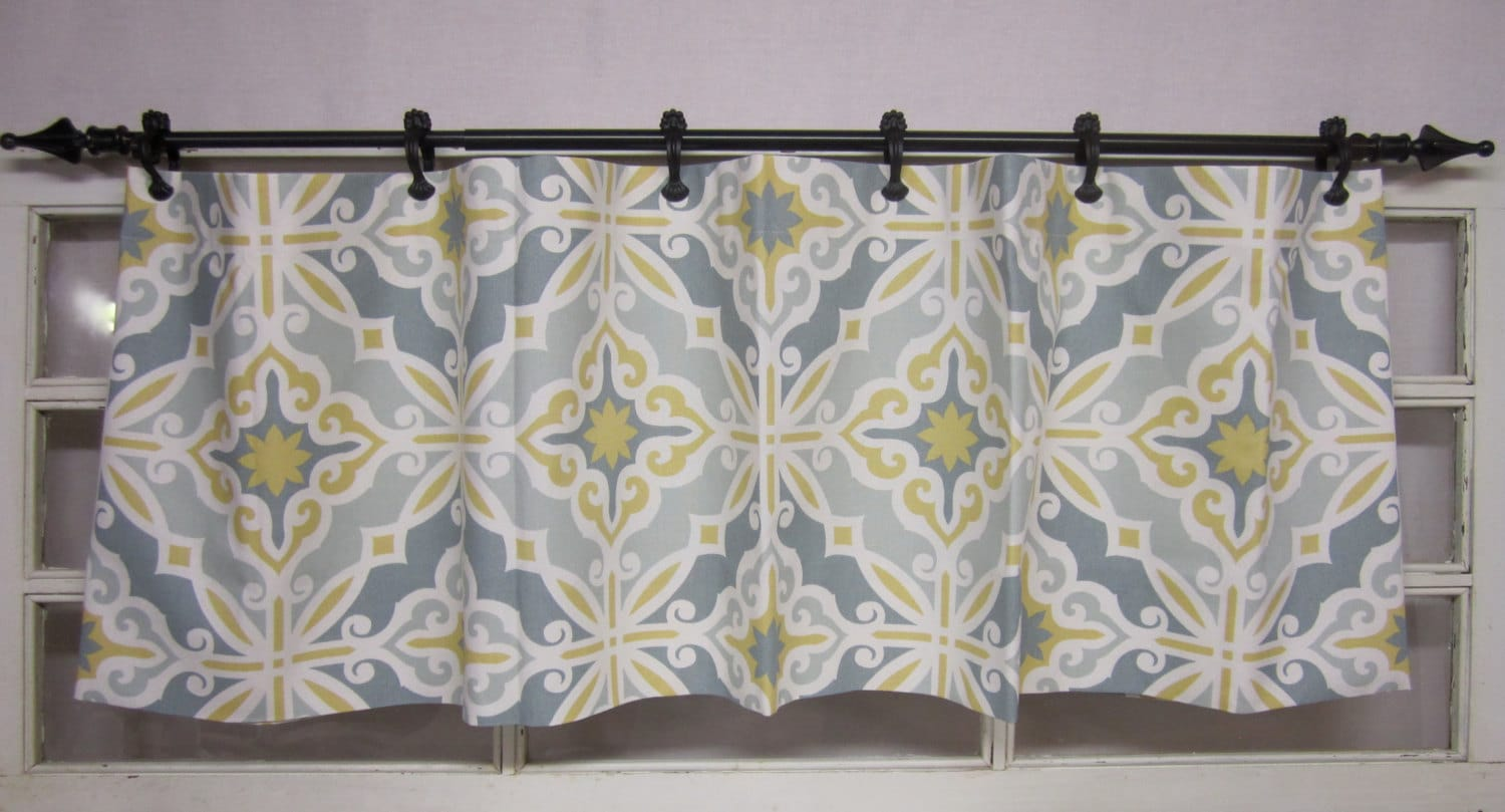 Valence Curtain Valance Yellow Grey Teal By Runningwithribbons