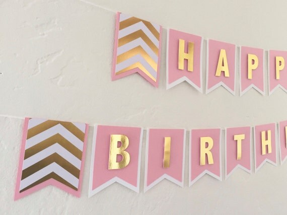 happy birthday banner light pink white and by thepaperbowshop