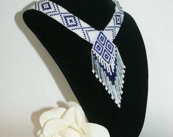 Native American Wedding Necklace, Blue and White, Seed Beaded Choker, OOAK, Loom Beadwork, Native Inspired