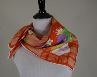 1970s Pansy Print Orange Square Scarf, Made in Italy