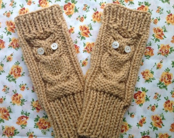 Owl Fingerless Gloves Knitting Pattern, Chunky Hand Warmers Pattern, PDF Instant Download