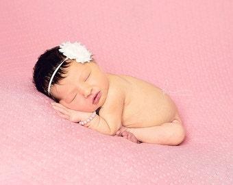 White Shabby Flower Headband, photo prop, Newborn, toddler, adult, S2