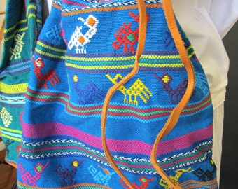 Colorful Leather & Cotton Embroidered Drawstring Purse