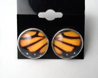 Monarch Butterfly Wing Earrings // 16mm Silver Plated Brass // Post Ear Studs