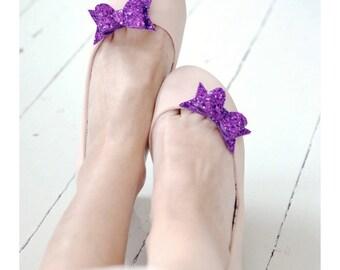 Violet Glitter Bow Shoe Slips, Lilac Glitter Bow Shoe Clips, Purple Glitter Wedding Shoeclips, Purple Bridesmaids, Grey Flowergirl