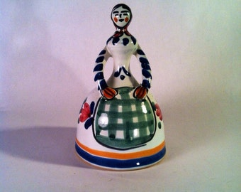 Vintage Ceramic Pottery Bell Handpainted Woman